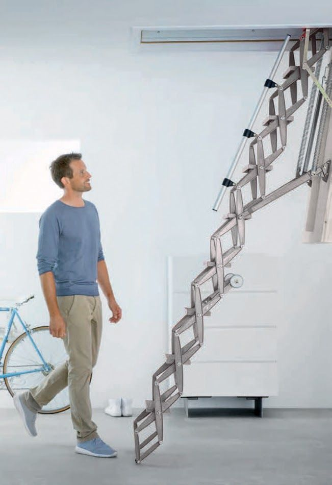 compact loft ladder that folds up into even a small ceiling opening and requires minimal vertical