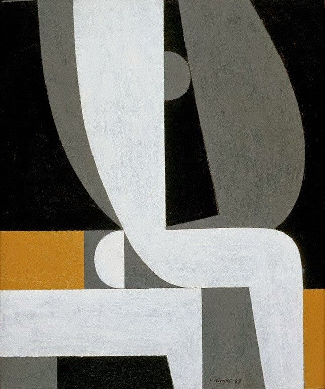 Yannis Moralis (Greek, 1916 – 2009), Ερωτικό [Erotic],1989. Acrylic on canvas, 54.5 × 46 cm.