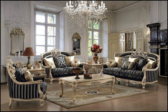 Luxury designs french provincial furniture baroque style for Baroque living room ideas