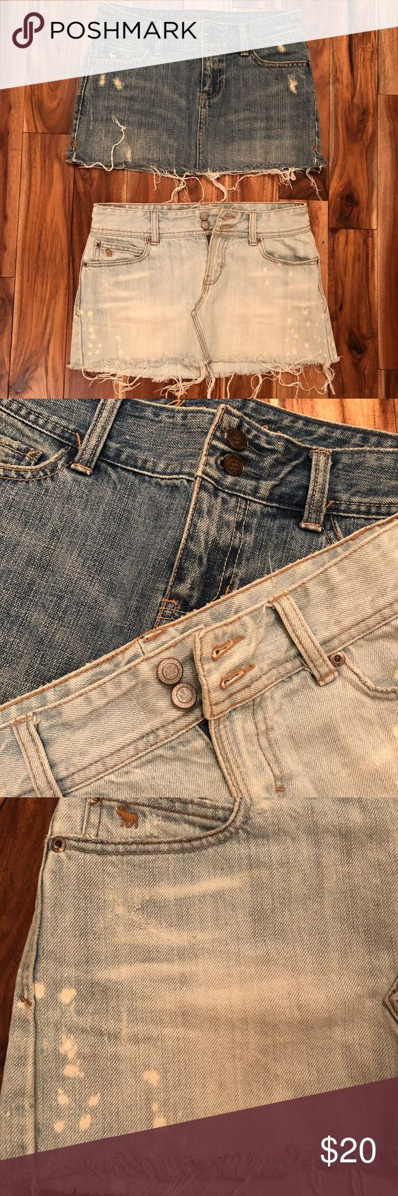 Two denim mini skirts by Abercrombie size xs Not one but two jean skirts from Abercrombie and Fitch. One is a medium to dark shade and the other is light denim. Super cute in summertime or wear with leggings/tights! Size xs Abercrombie & Fitch Skirts Mini
