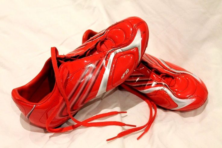 Adidas F10 Soccer Boots Shoes Red & Silver Size 6 USA 5.5 UK Excellent  Genuine #Adidas