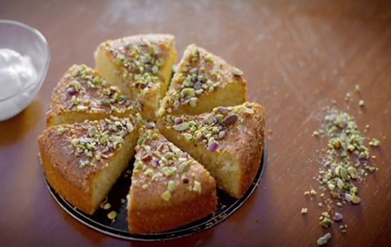 Paul Hollywood shamali cake with orange on Paul Hollywood City Bakes in Cyprus