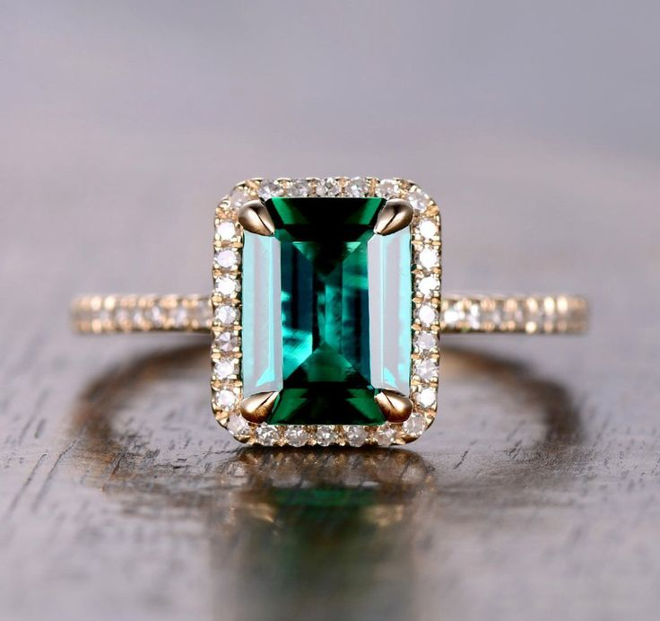 $459 Emerald Shape Emerald Engagement Ring Pave Diamond Wedding 14K Yellow Gold 7x9mm
