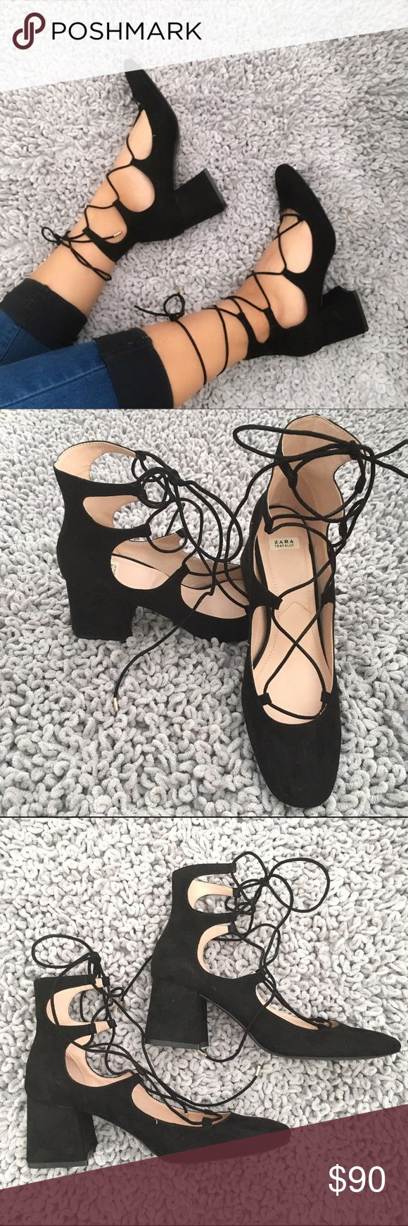Zara Lace Up Heels Sold out black faux suede lace up strappy heels from Zara!  Extremely on trend and sought after! Low chunky block heels Size 8  Worn one time only! In perfect condition. Comes with original box Zara Shoes Heels