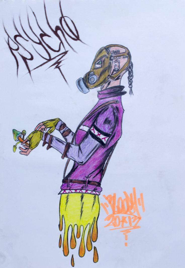 Psycho-delic. Ilustración a lapices de color. 25x35cm