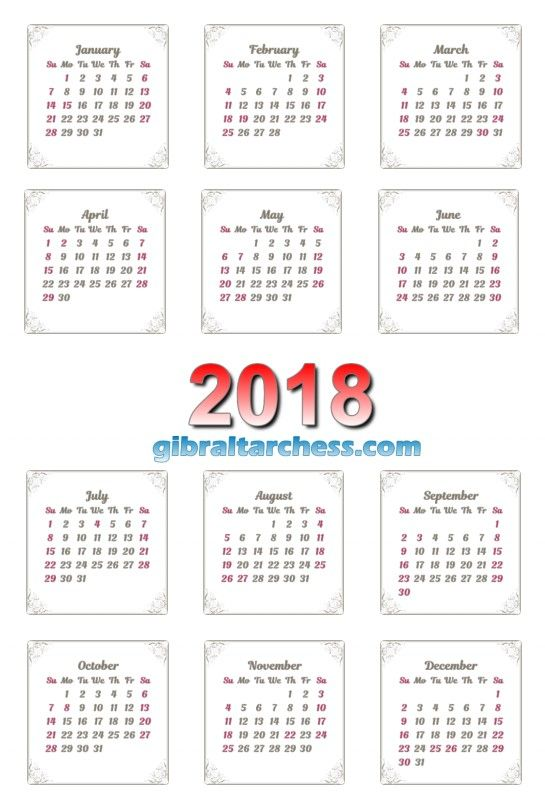 2018 Calendar Printable Template PDF Word Excel 5 gibraltarchess
