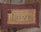 Primitive Country Mini Burgundy Homespun Valentine LOVE Pillow Tuck Ornie Bowl Filler Shelf Sitter
