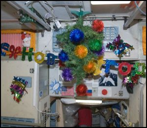 Ornaments adorn the Russian segment of the International Space Station