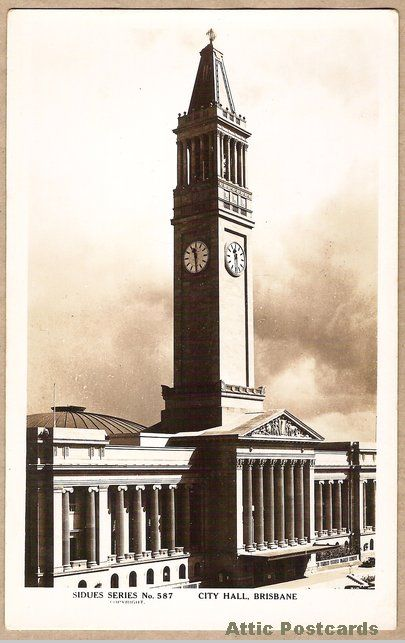 Vintage real photo postcard the city hall in Brisbane, Queensland, Australia.