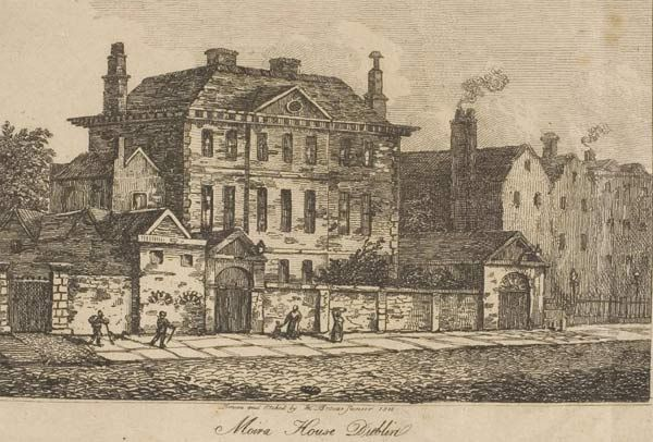 Moira House, Usher's Island, Dublin, 1752, aquired by the Association for the Suppression of Mendicancy in 1826, then demolished, with the site being occupied by the Mendicancy Institution.