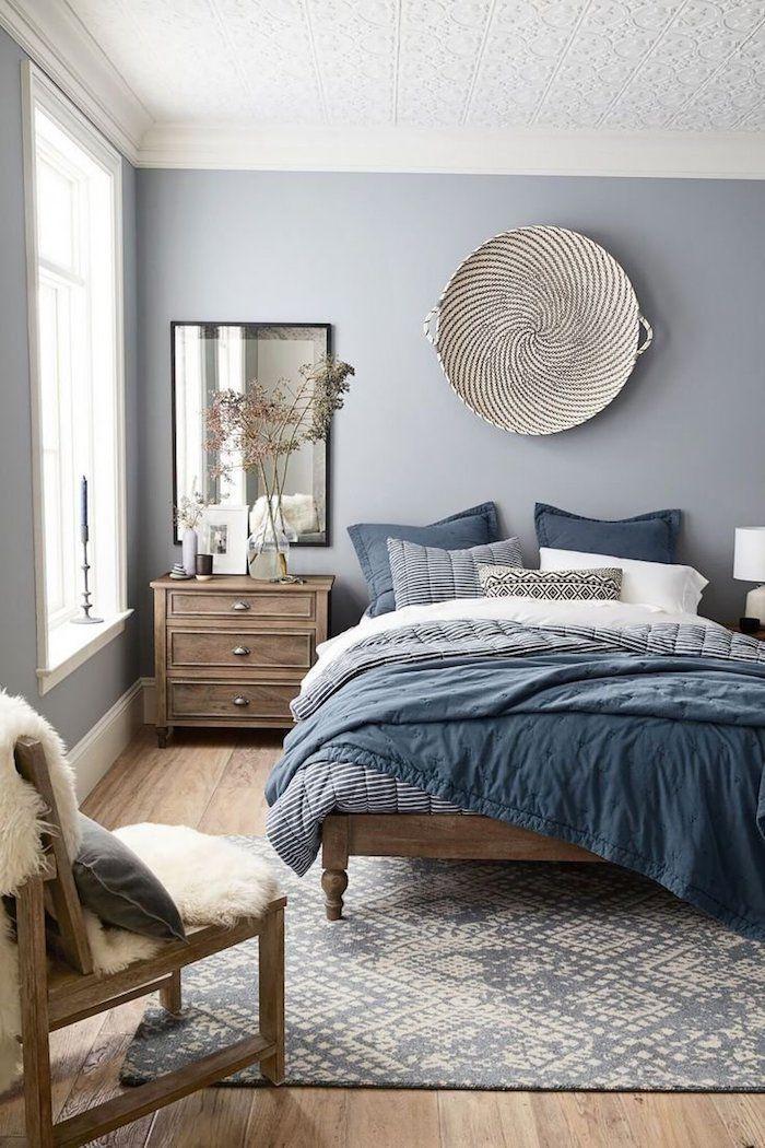 chambre parentale moderne peinture mur chambre hygge deco scandinave simple gris bleu blanc couleurs chambre a coucher