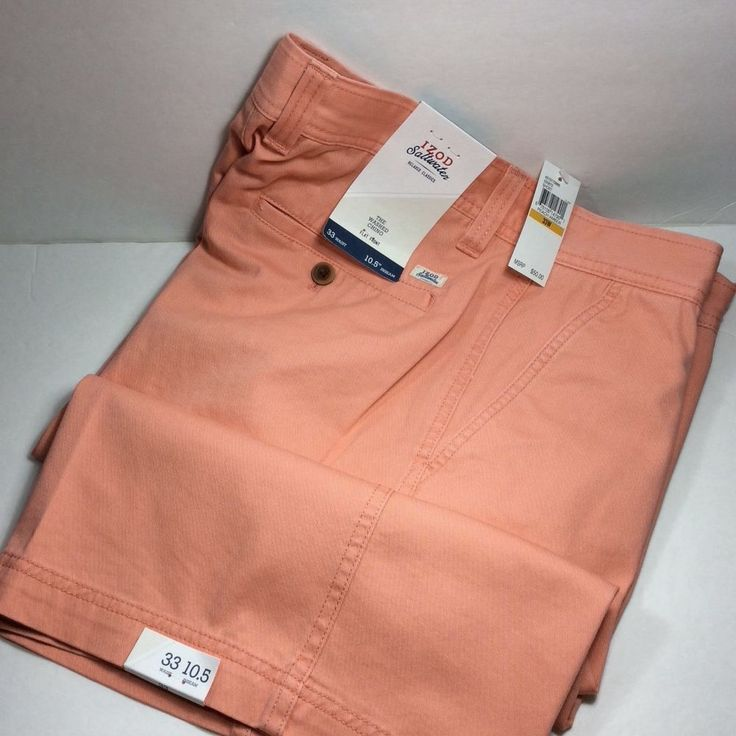 IZOD SALTWATER MEN'S FLAT FRONT SHORTS.PEACH AMBER.SIZE 33.NWT. MSRP. $50.00 #IZOD #CasualShorts