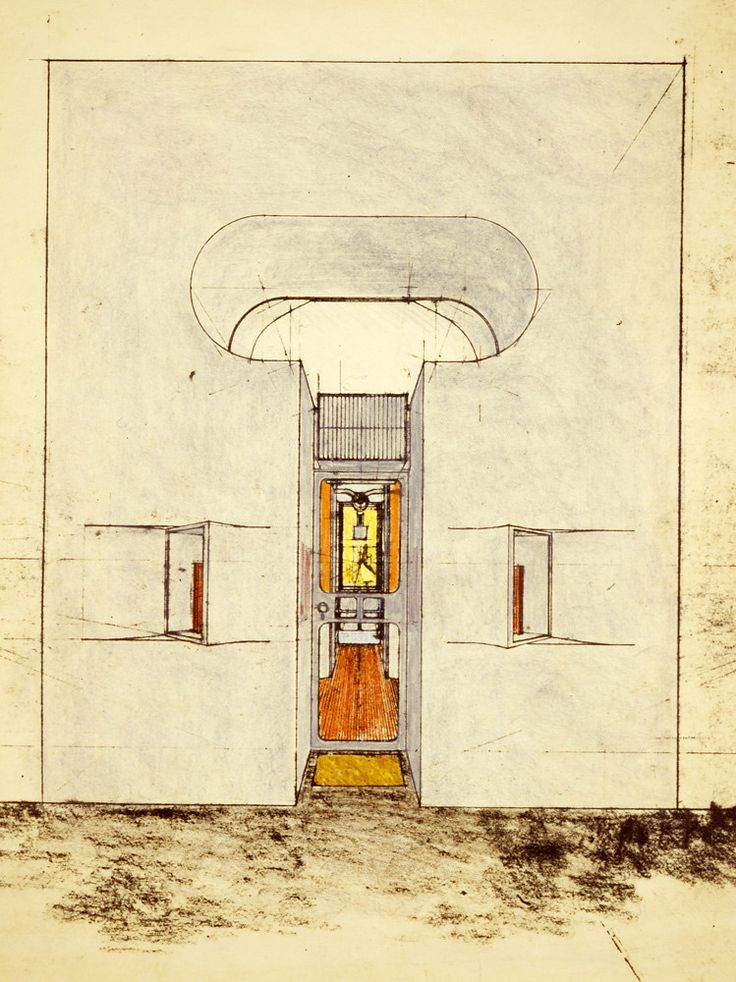 Hans Hollein's sketch of the candle shop entrance.