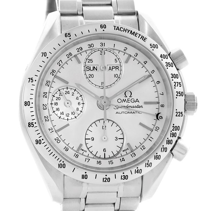 15340 Omega Speedmaster Silver Dial Day Date Mens Watch 3521.30.00 Box Card SwissWatchExpo
