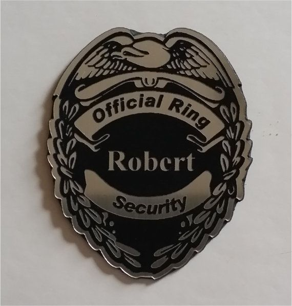 Silver and black ring security badge for by CustomSignsandTags