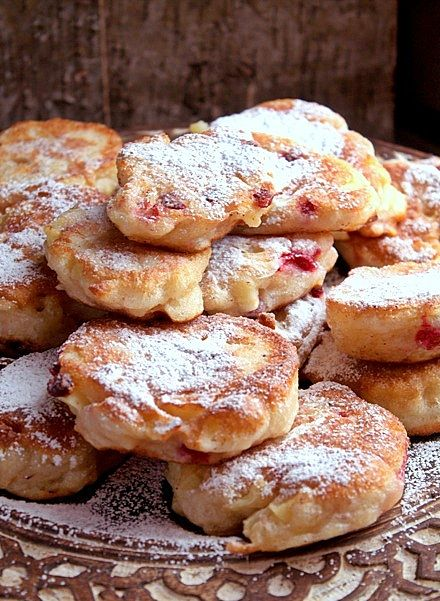 polish pancakes with apple and lingonberries
