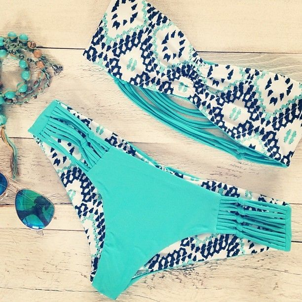 Summer 2014 Combinations – Printed bandeaus + solid color bottoms