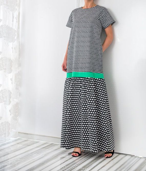 NEW SS16 Polka dots Cotton Maxi Dress, Abaya Dress, Summer Dress, Long Dress, Plus size clothing