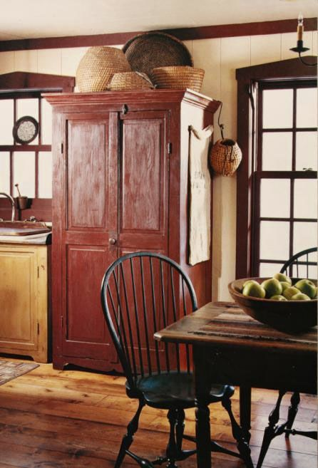 Red Armoire Primitive Kitchens Kitchen CabinetsPrimitive Dining RoomsKitchen