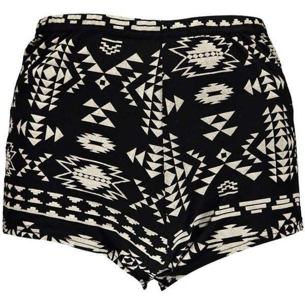Boohoo Tanya Aztec Print Knicker Shorts featuring polyvore, fashion, clothing, shorts, bottoms, pants, aztec shorts, aztec print shorts and rayon shorts