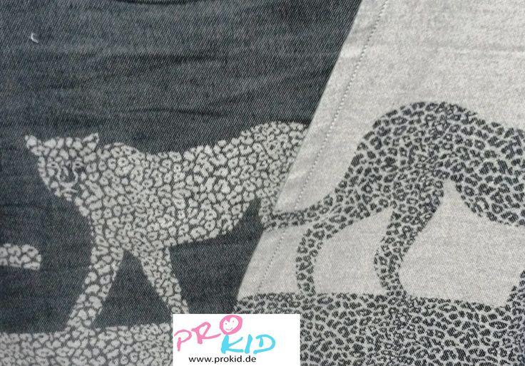 Neues Jaquard Tragetuch von Hoppediz : Masari - Leoparden in grau & anthrazit. Sehr schön !  http://www.prokid.de/Hoppediz-Tragetuch-Masasi