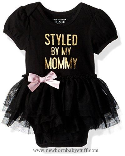 Baby Girl Clothes The Children's Place Baby Girls' Tutu Bodysuit, Black, 6-9MONTHS