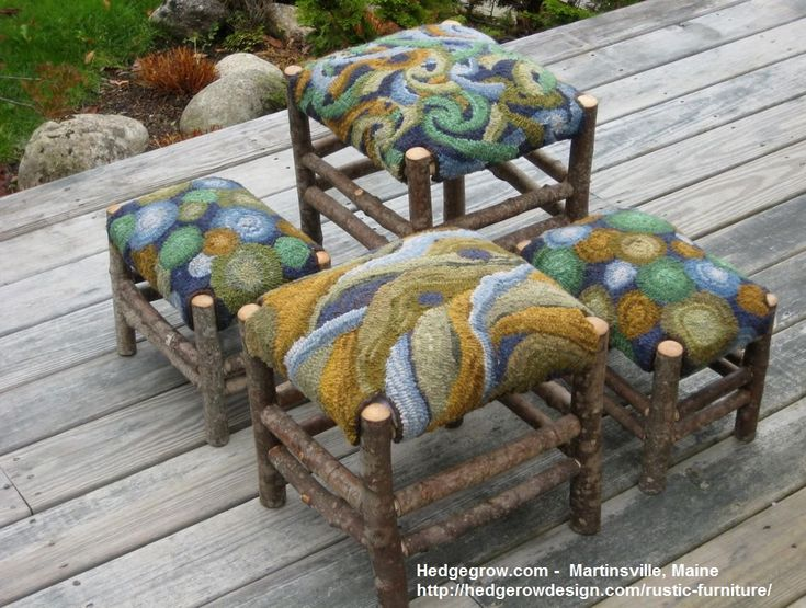 Rug hooking & rustic furniture by Anne Cox of Hedgerow