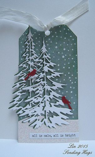 """Christmas tag with Tim Holtz """"Woodlands"""" tree dies."""
