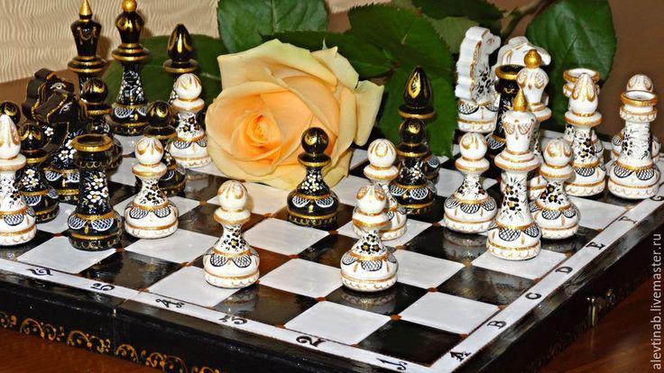 Купить Шахматы подарочные расписные Симфония (малые) - чёрно-белый, настольные игры, Идея для подарка