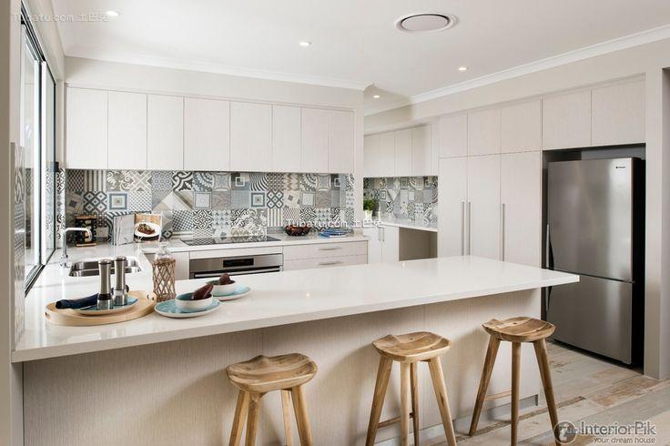 Fashion u-shaped open kitchen design 2015