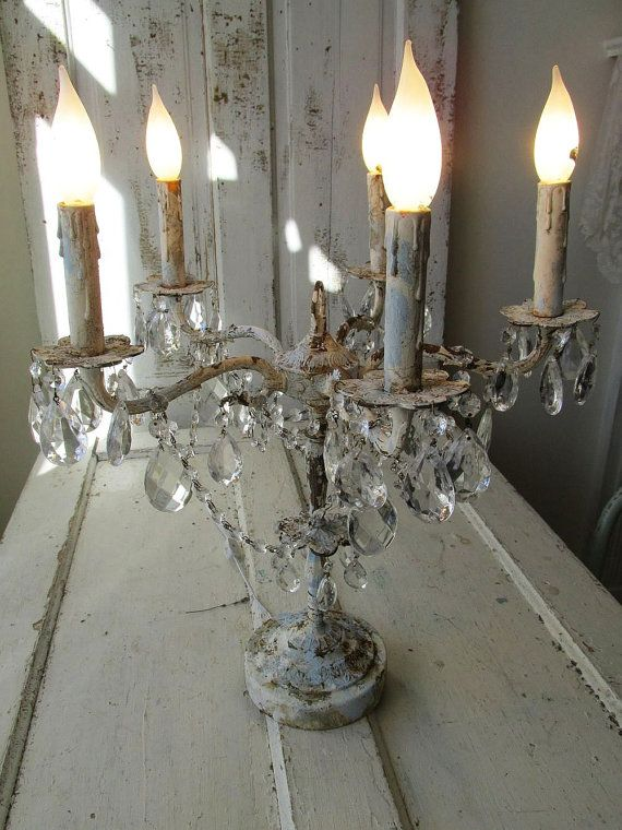 Candelabra Lighting Table Chandelier Distressed French