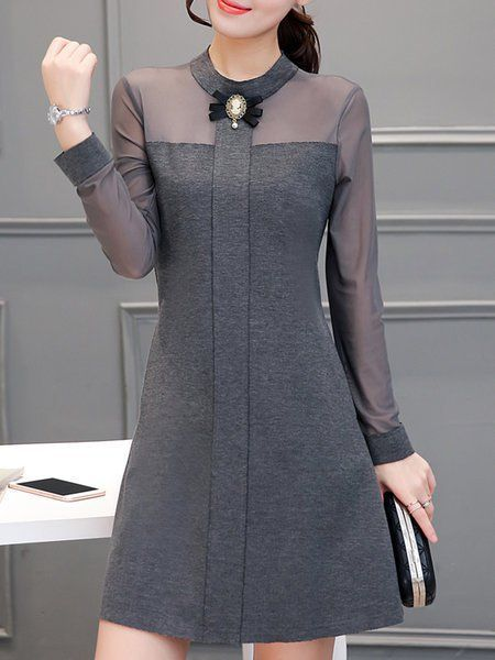 Buy Casual Dress For Women at JustFashionNow. Online Shopping JustFashionNow Women Casual Dress Stand Collar A-line Daily Dress Long Sleeve Casual Cot…
