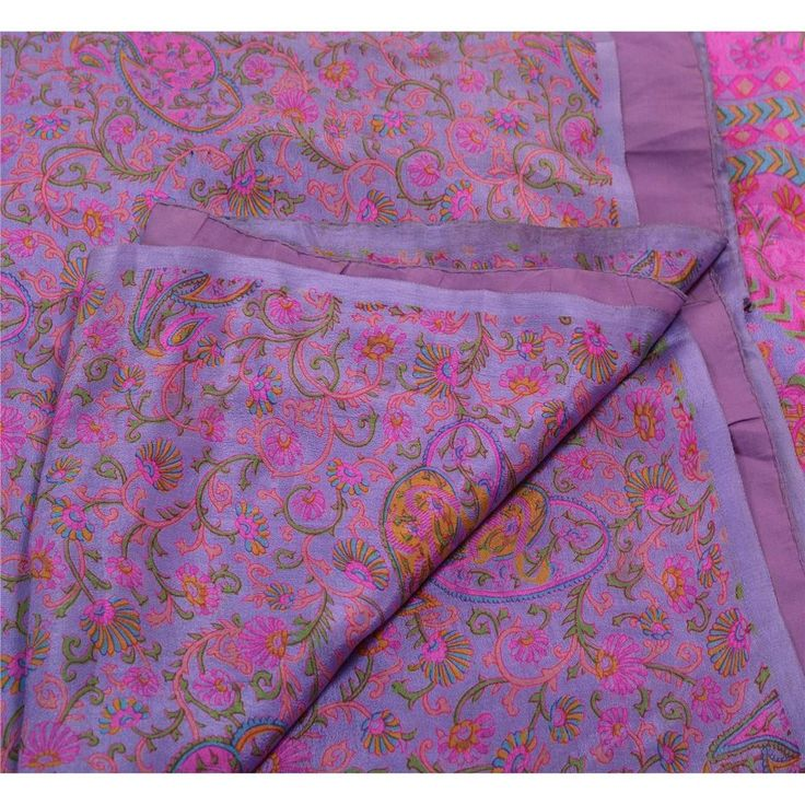 Sanskriti Vintage 100% Pure Silk Saree Purple Printed Sari Craft Decor Fabric #SanskritiVintage