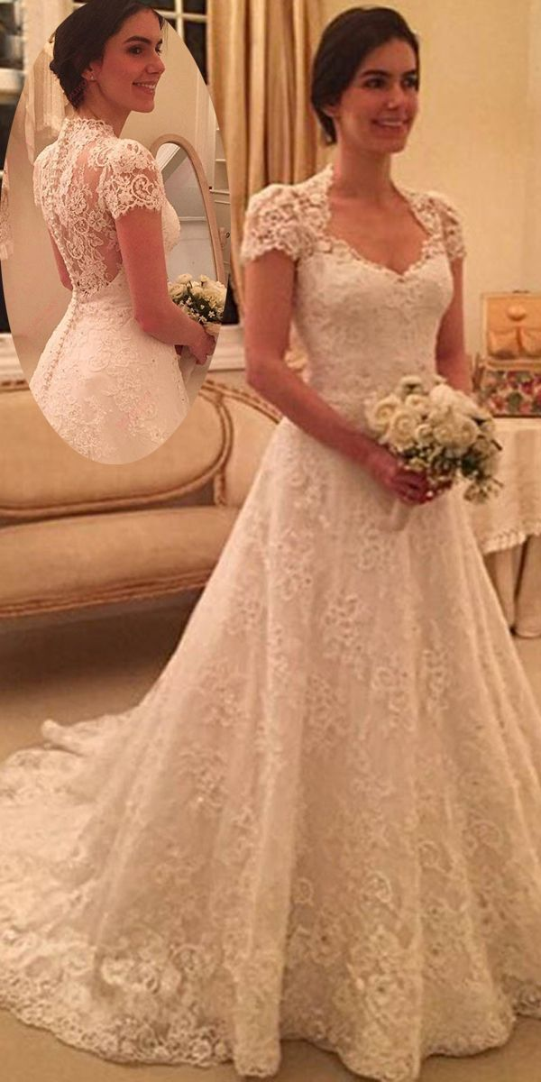 [273.99]  Beautiful tulle & lace Queen Anne neckline wedding dress with pearl embroidery and lace applications