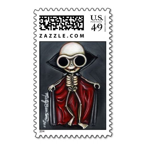 """""""Vampire Skelly"""" Postage Stamps"""