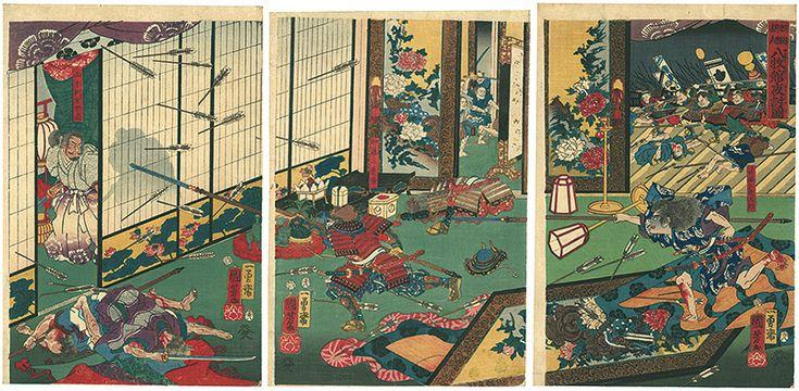by Kuniyoshi / 頼朝旗起 八牧館夜討図  国芳