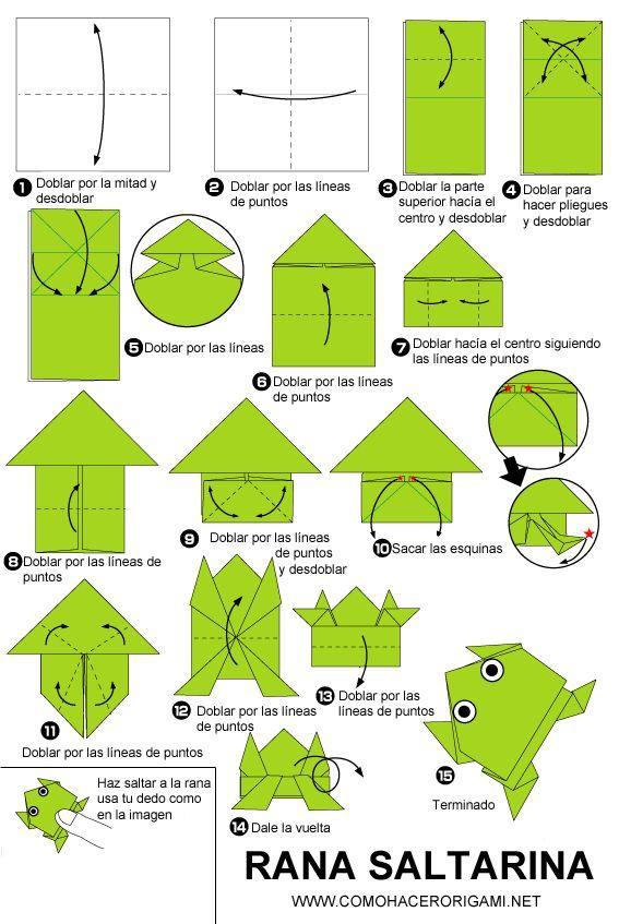 Rana Saltarina Origami Paso A Paso Origami Paso Rana Saltarina Cute Origami Origami Patterns Origami Frog Instructions