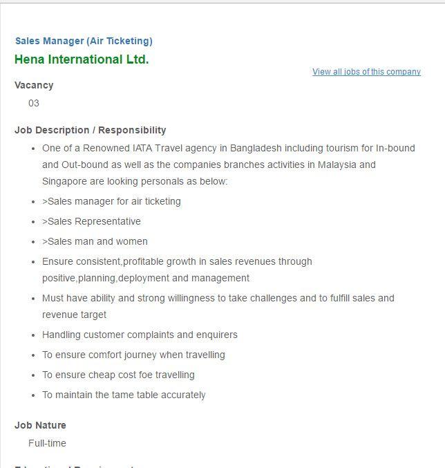 Hena International Ltd Sales Manager Job Circular VACANCY Job - travel agent job description