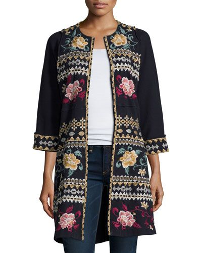 Johnny Was Collection Aralyn Raw-Seam Embroidered Coat