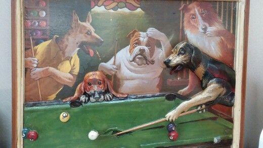 Renaissance like art. Dogs having fun.