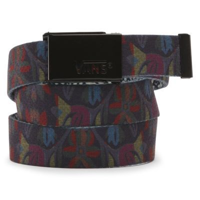 The Fortified Web Belt is a 100% polyester reversible webbed belt with mixed all-over prints and a Vans logo metal buckle.