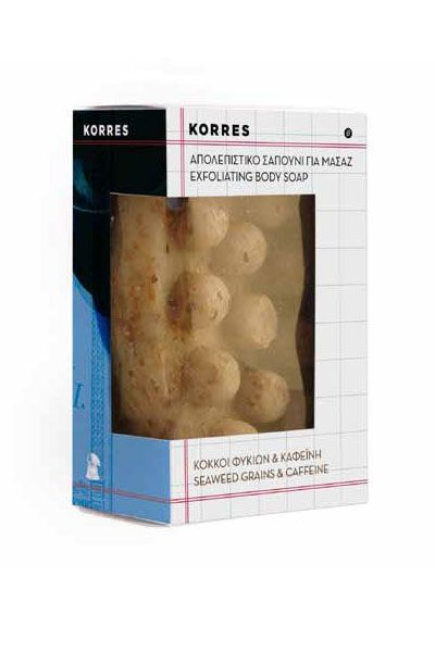 Korres Exfoliating Body Soap 125g  Exfoliating body soap with seaweed grains & Caffeine. Glycerine based soap with exfoliating action to stimulate blood microcirculation and improve the appearance of the skin. Caffeine and seaweed extracts have detoxifying action and palm tree oil increases elasticity leaving the skin soft and supple. http://bit.ly/1gzb107