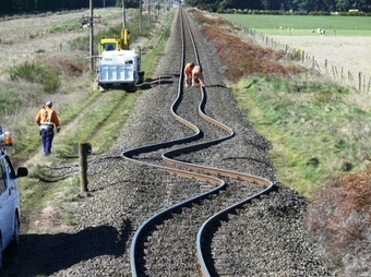 Earthquake impact on railroad in New Zealand. Spectacular plate shift evidence.