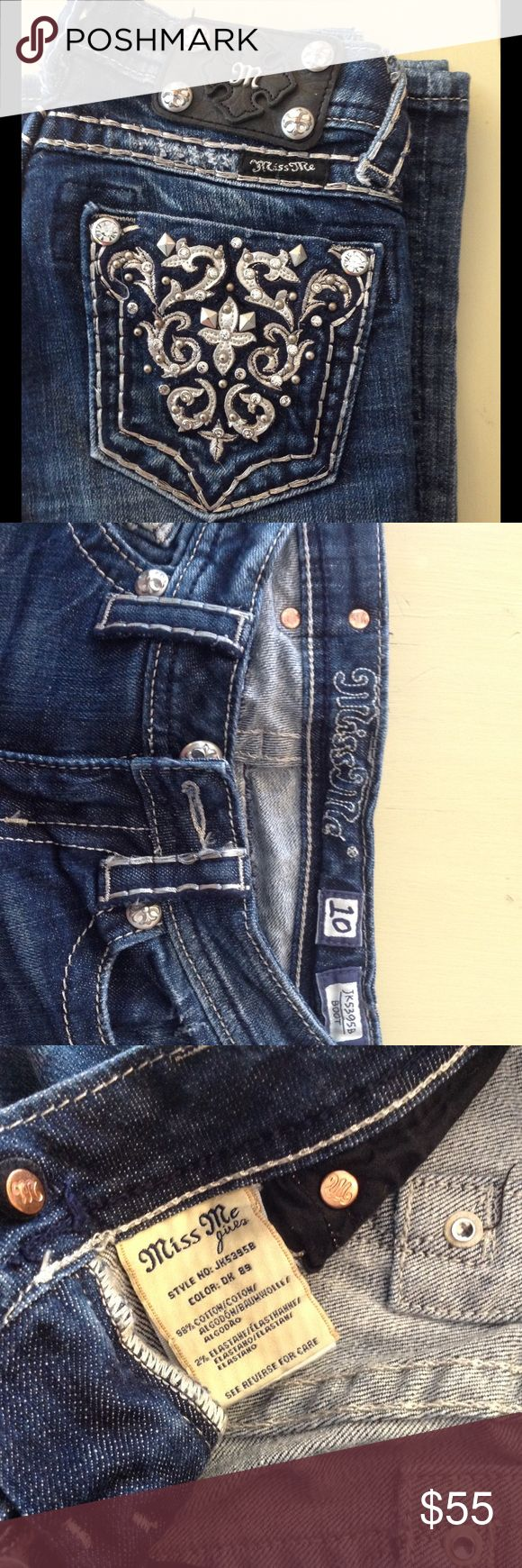Girls Miss Me Jeans Size 10 Girls Miss Me Jeans Size 10, boot cut, style JK5395B, dark color Miss Me Bottoms Jeans