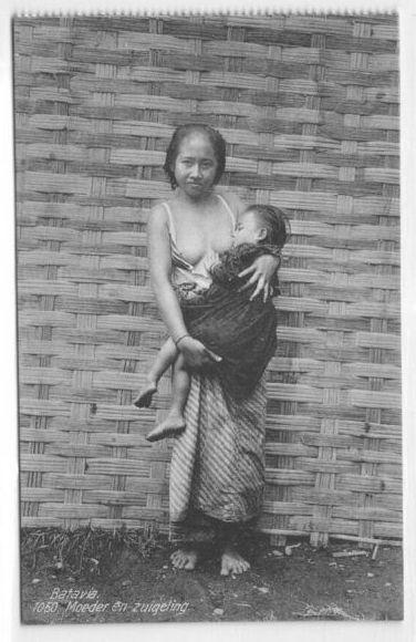 Javanese Woman Breast Feeding - Batavia - Jakarta - Ca.1910