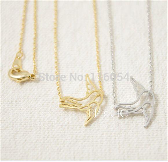 Бесплатная доставка мода мило ласточка ожерелье в silver-бесплатная крошечные птицы ожерелье для женщин оптовая продажа