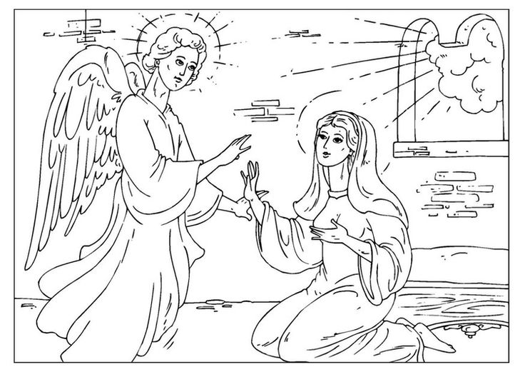 Coloring page angel Gabriel