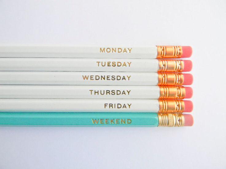 Hello Weekend Pencils - White, Aqua, & Gold, Set of 6. $12.00, via Etsy.
