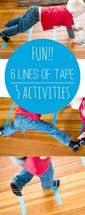 Genius! 5 things to do with the same 6 lines of tape - so simple! Incorporate yoga movement for added fun!