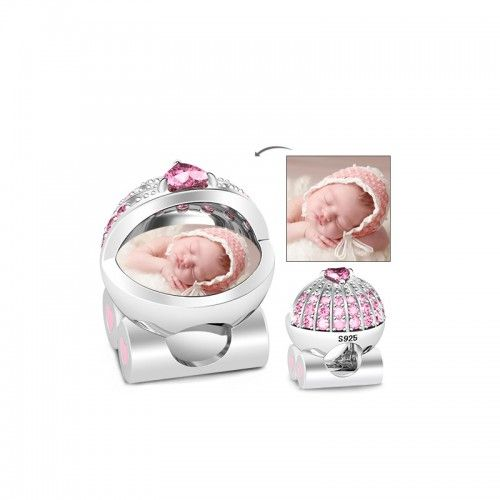 Image of Baby's Pink Pram Photo Charm Sterling Silver